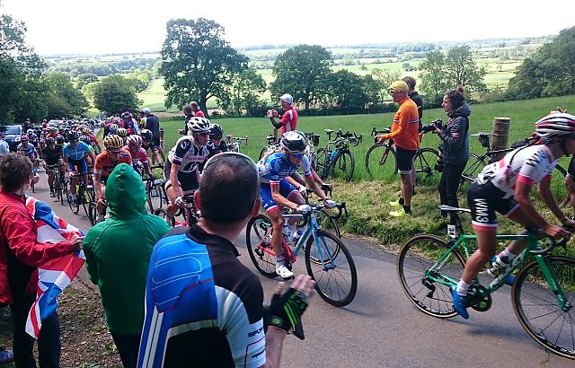 Womens Tour 2017 lead group racing up the Queen of the Mountains climb at Haselbech near Northampton