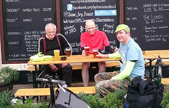 Four CTC Northampton members visitng the Ivy House pub on the club's annual train-assisted ride around London, August 2017
