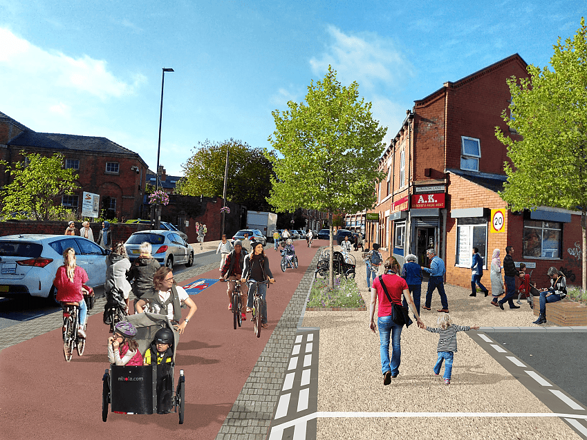 Visualisation of a more cycling and walking friendly Sharrow Lane