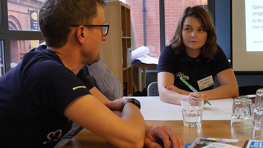 Cycling Development Officer Ruth Magennis makes notes