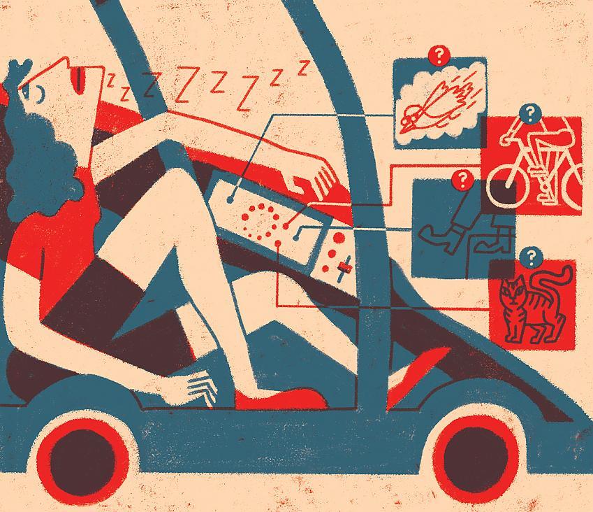 Illustration of driverless car