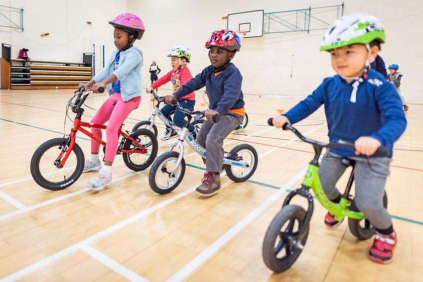 Children taking part in a Play Together on Pedals session in Edinburgh