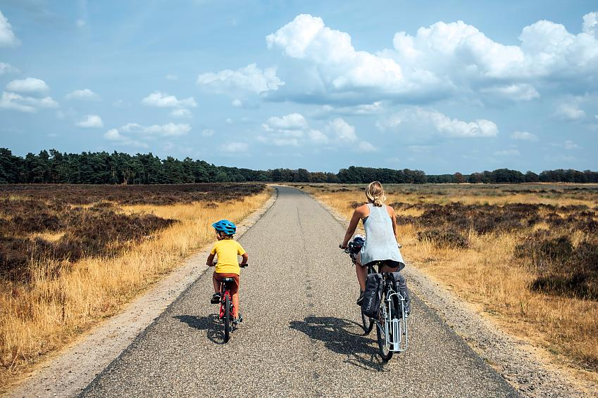 Sage and Nancy cycling in Holland