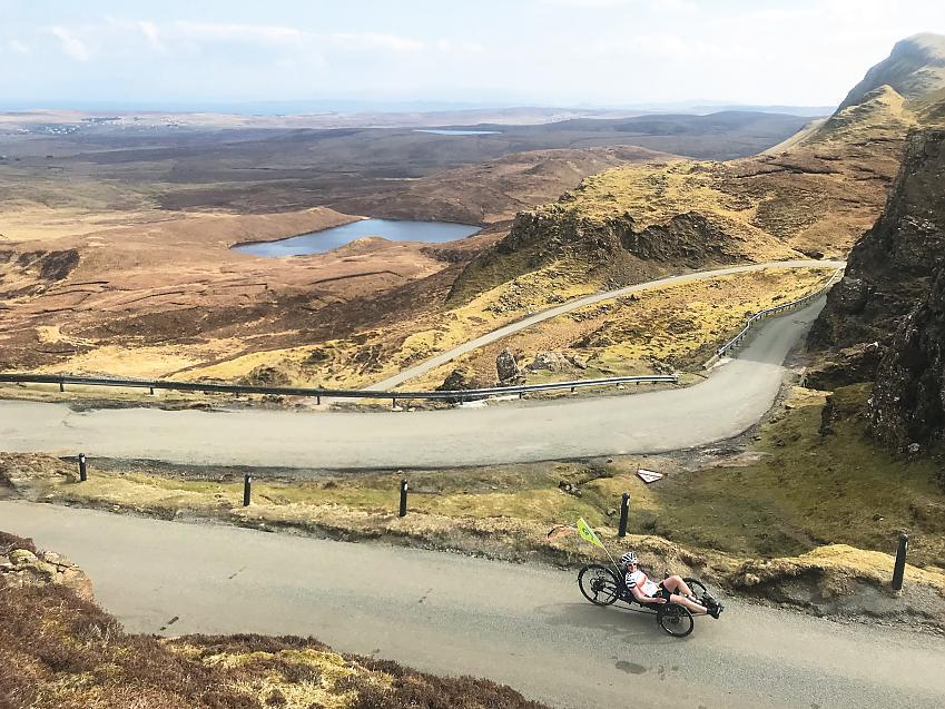 Natalie cresting the Quiraing on the Isle of Skye