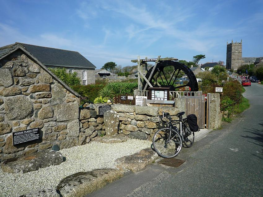 Neil's bike in Zennor, Cornwall, the furthest south-east he went
