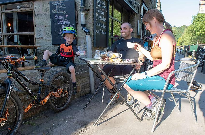 Cycle tourists at cafe