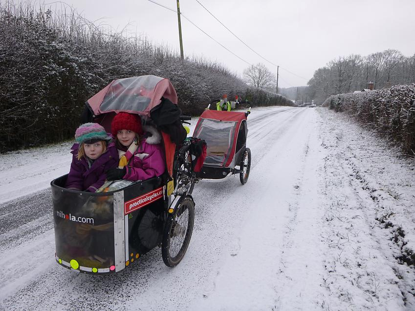 Cycling to school in the snow!