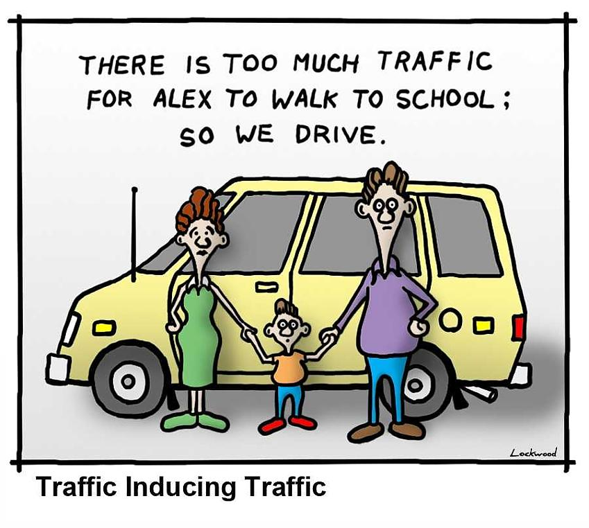 cartoon from the BJM about why parents drive their children to school