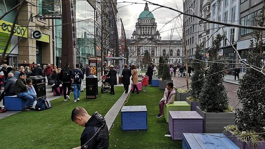 Traffic-free high street in Belfast