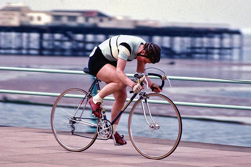 Beryl Burton out on the seafront in Lancashire