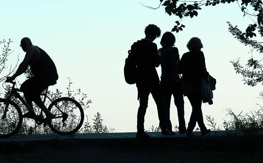 Bicycle silhouette stands out