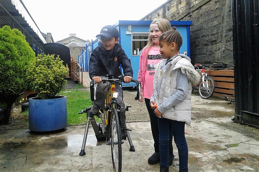 Children have a go at the smoothie bike