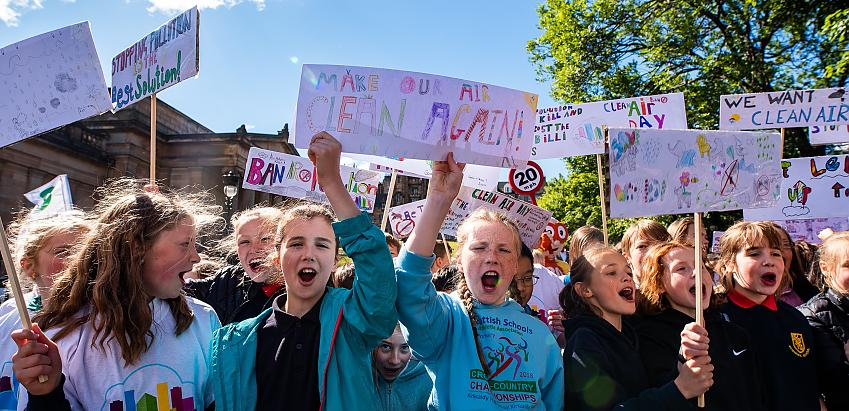 School protest on Clean Air Day