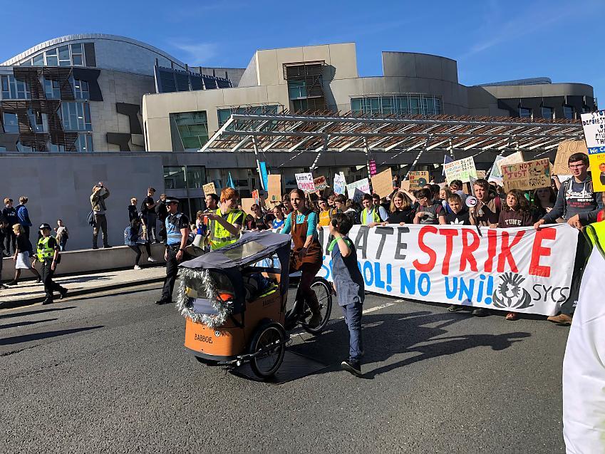 People taking part in a climate strike in Edinburgh