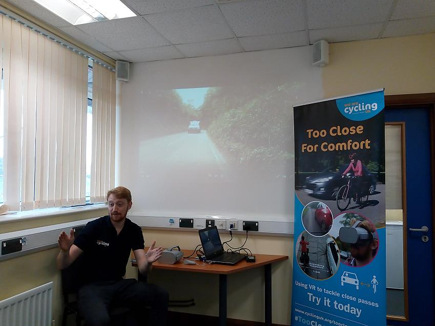 Delivering education at Cardiff Road Safety Team's 'Megadrive' event