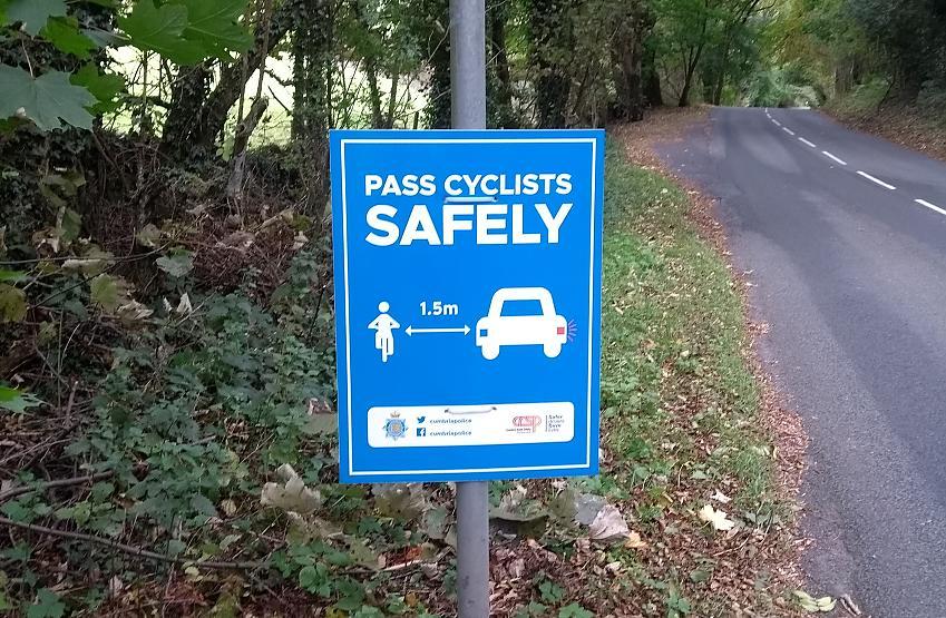 Cumbria's close pass sign