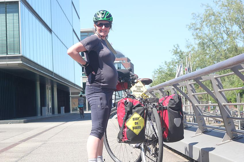 Laura Moss cycling in Denmark at 7 months pregnant