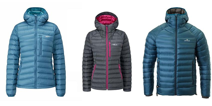 Selection of down jackets