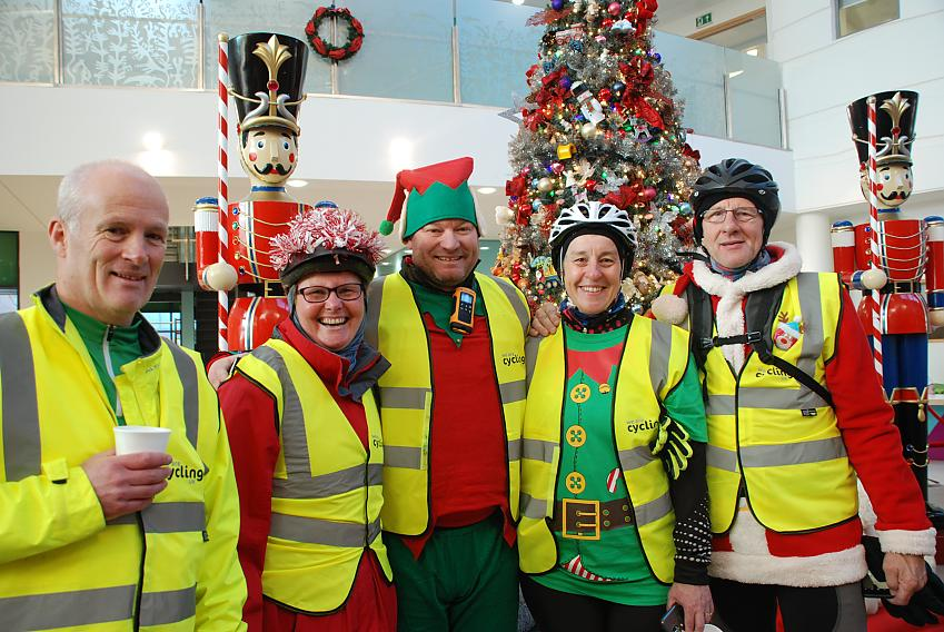 Chris Alston (centre) with the Santa Cycle's ride leaders