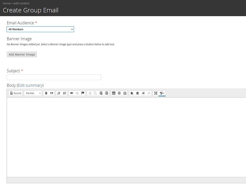 Create email page