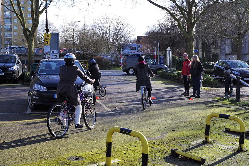 The group is watched over on the loop by Cycling UK volunteers