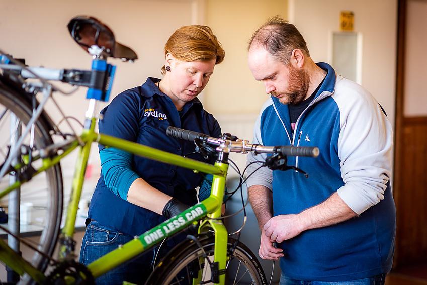 Cycling UK's Abi Wingate teaching bike maintenance skills