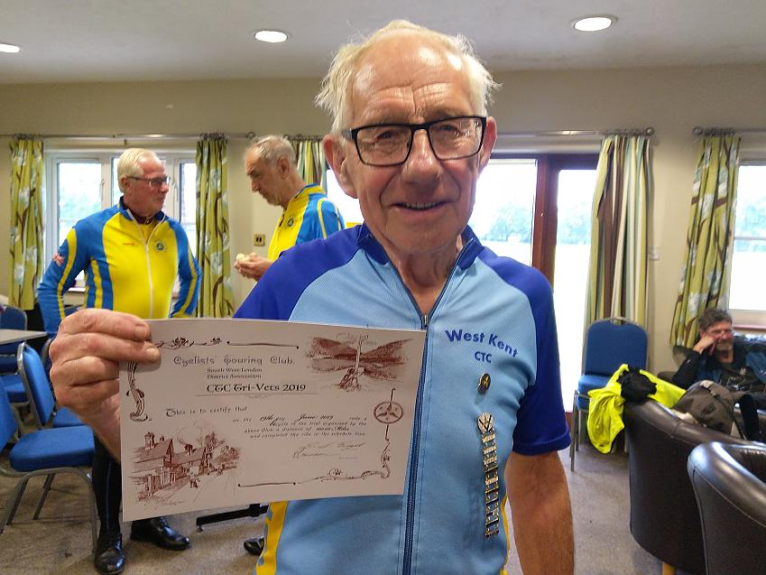 John Seabrook with his badges and certificate  Photo by Graham Seabrook