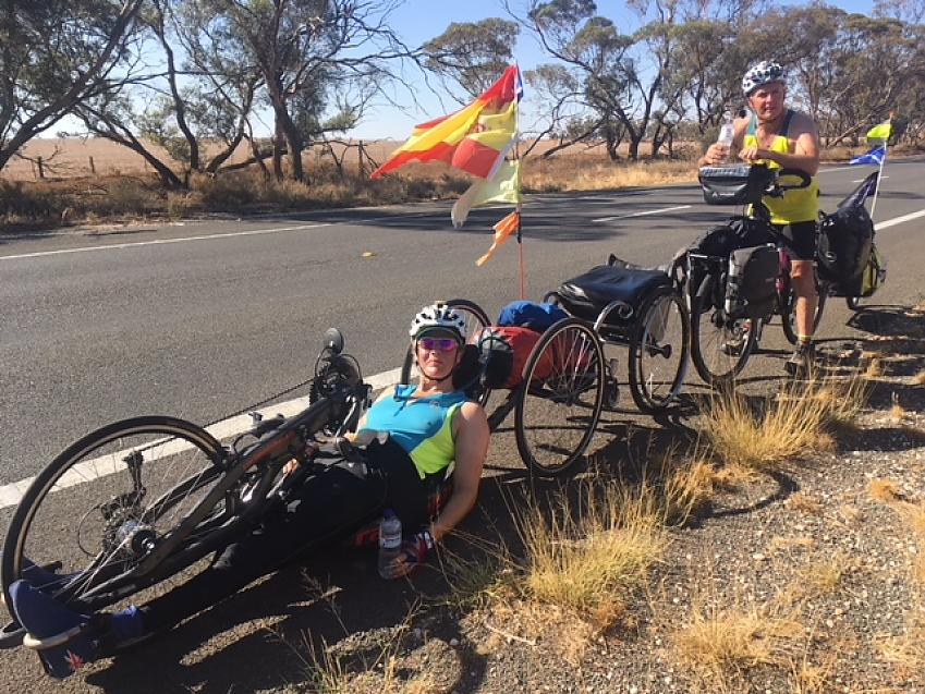 Karen Darke on her handcycle alongside the Murray River