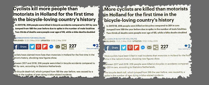 Two versions of the headline which appeared in the MailOnline