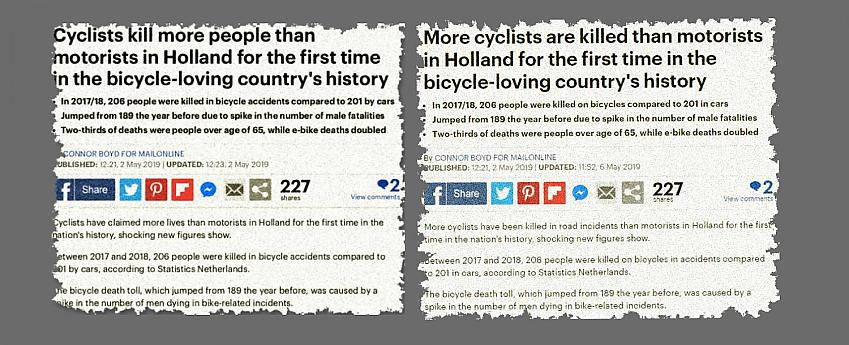 Spot the difference - two versions of the same story in the MailIOnline