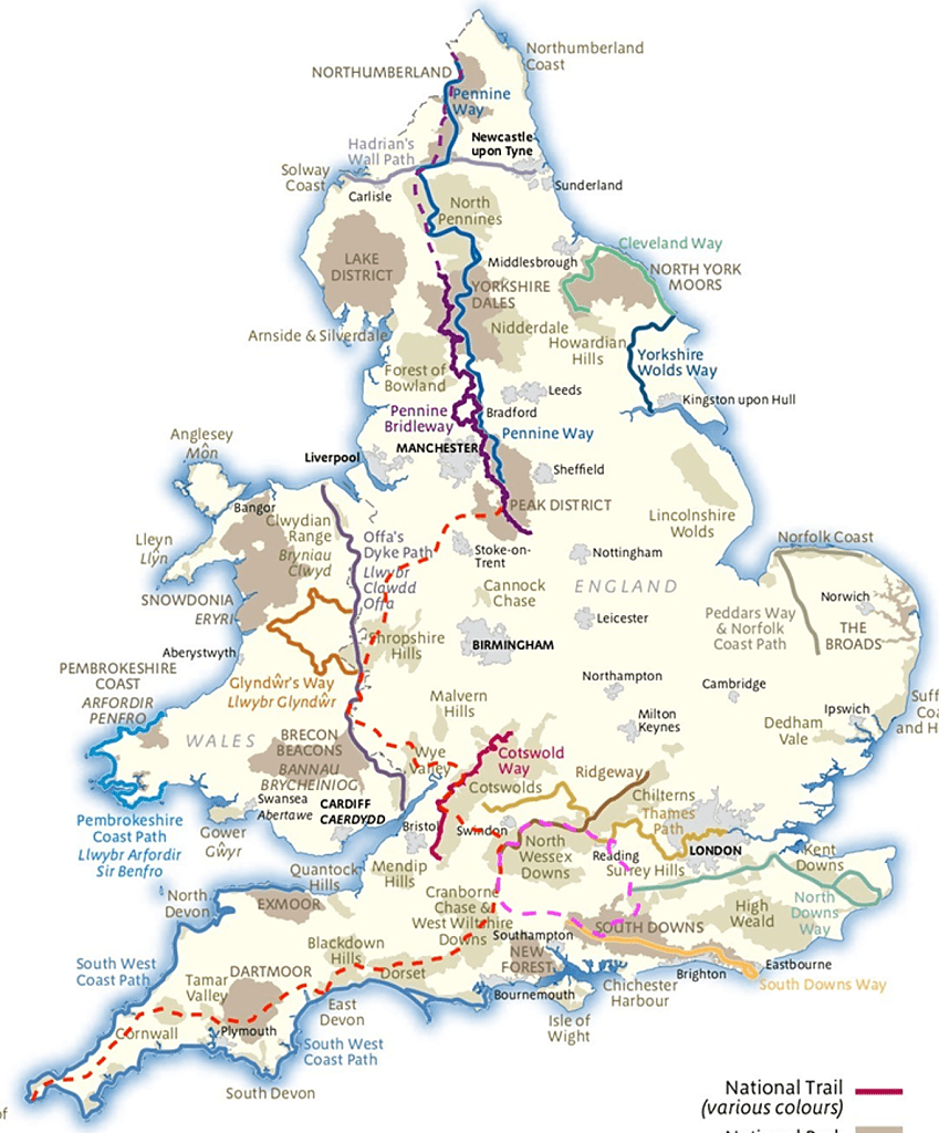 Map of National Trails in England and Wales