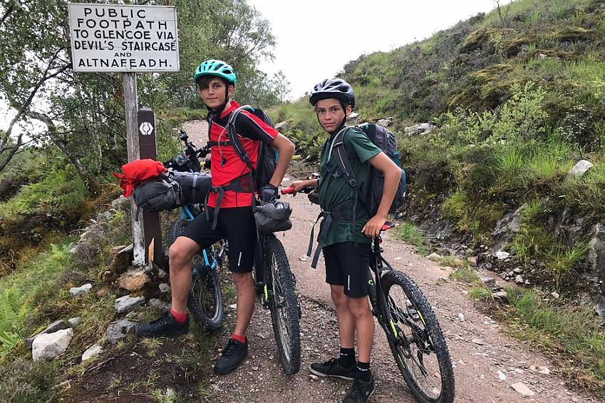 ffinlo Kilner's sons Ned and Billy on the Devil's Staircase on the West Highland Way