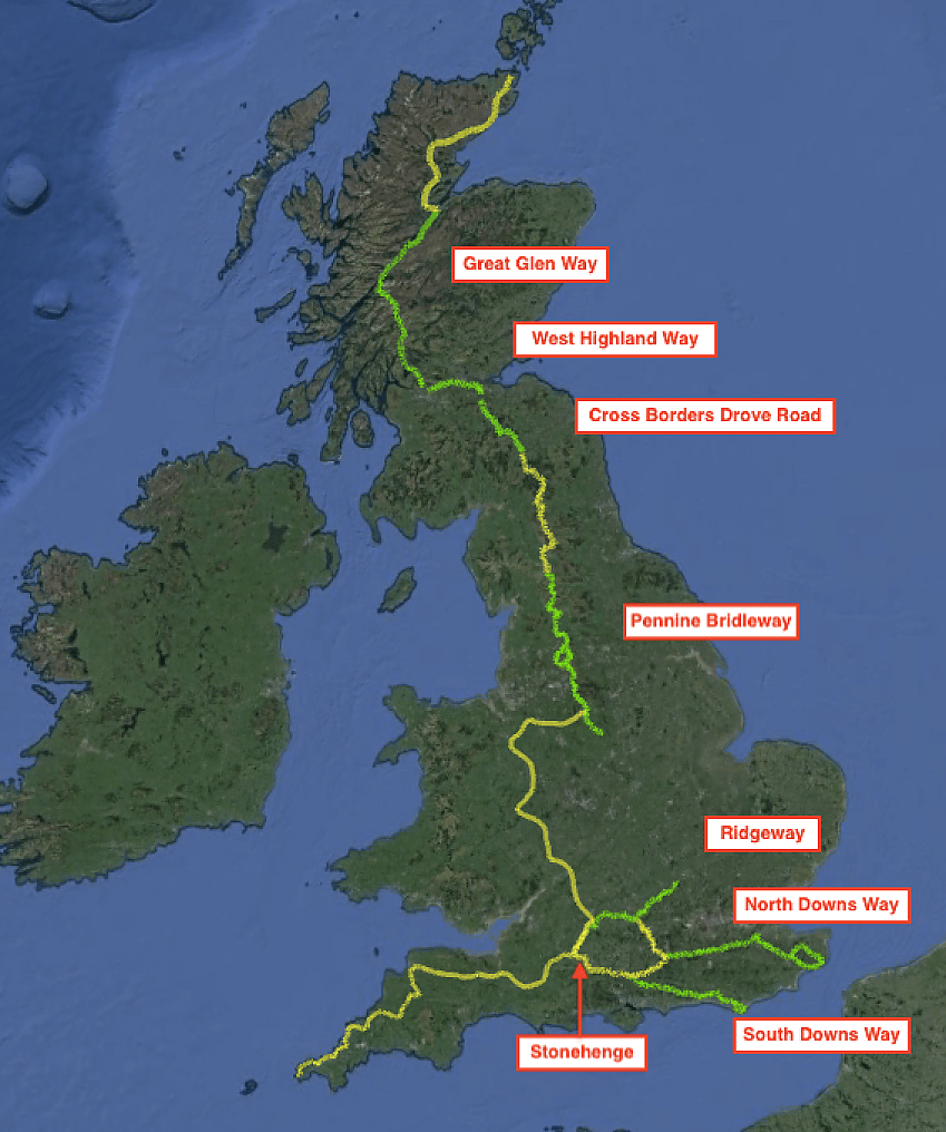 Map of Cycling UK's vision for an off-road LEJOG