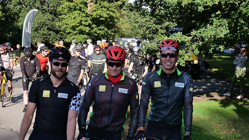 The three riders were joined by supporters and friends on the first leg of the challenge