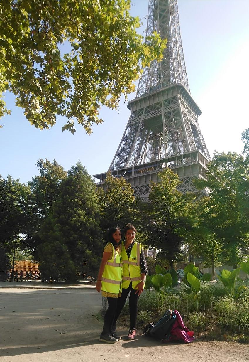 Tasleem and Sajida at the Eiffel Tower