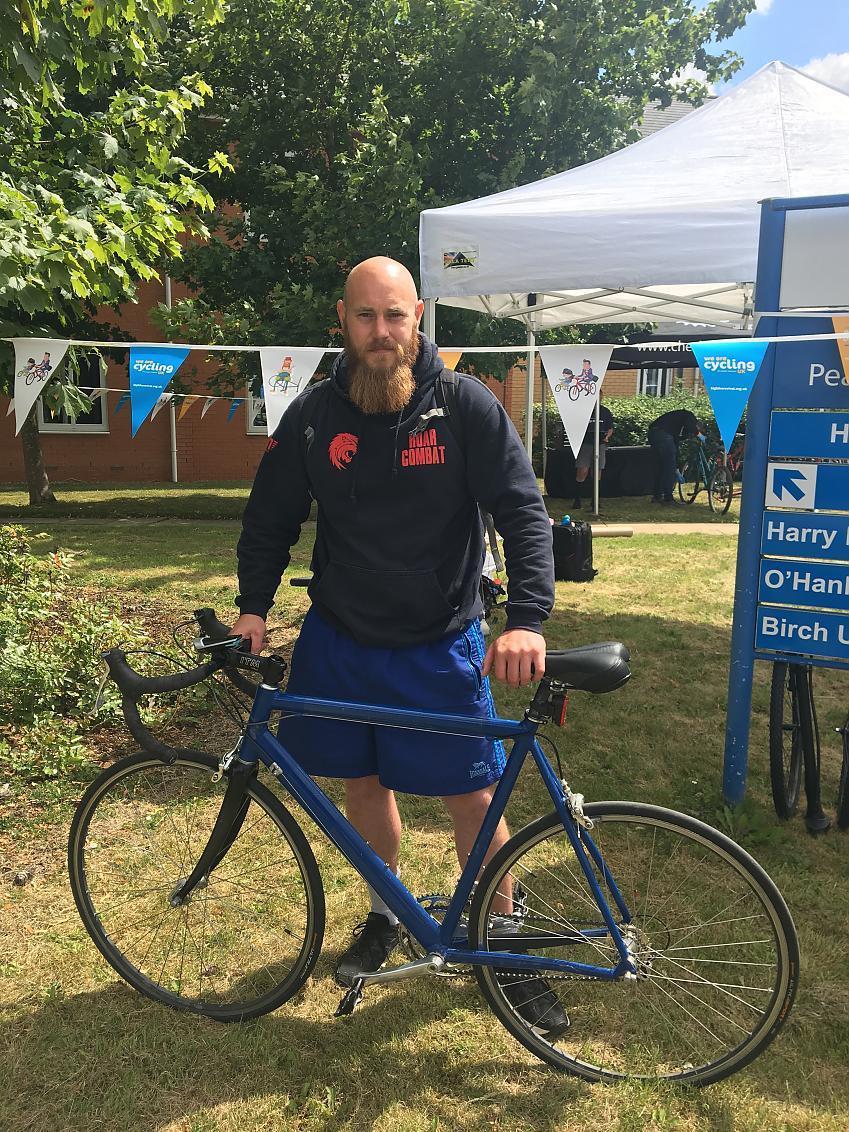 NHS Volunteer and former patient, David Walker with his recently refurbished road bike