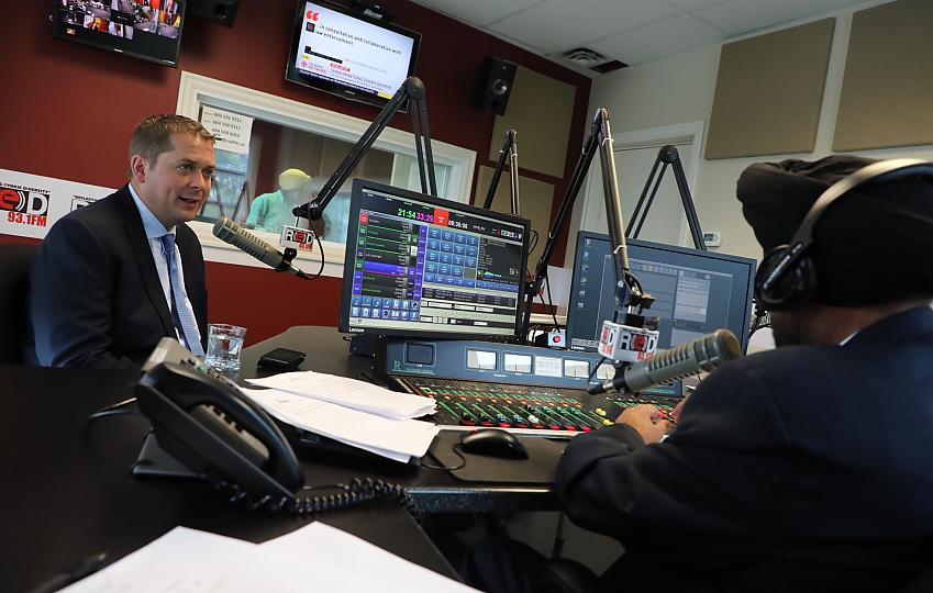 Interview in a radio studio