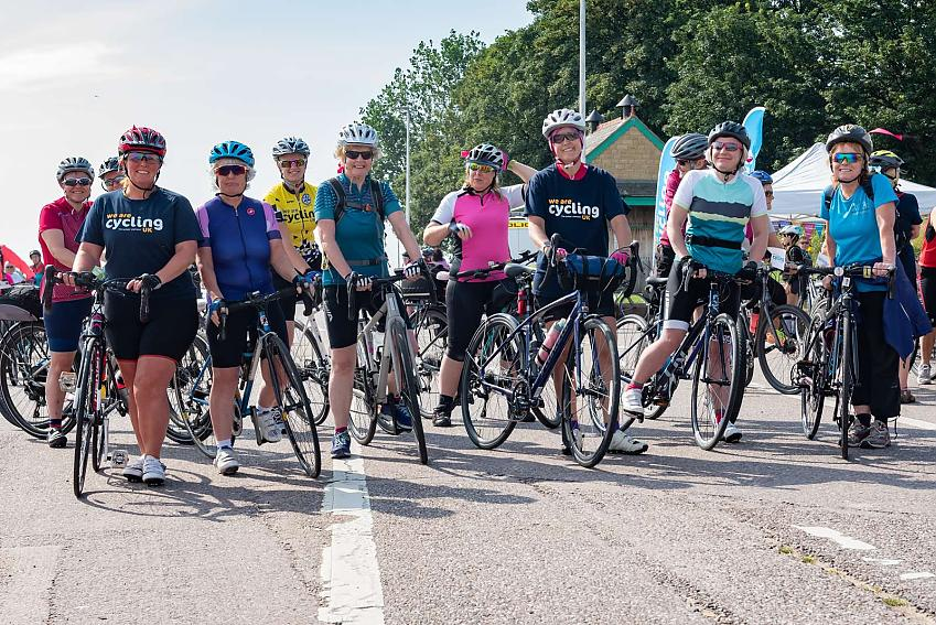 The ladies ready for the Wirral Celebration Ride Depart
