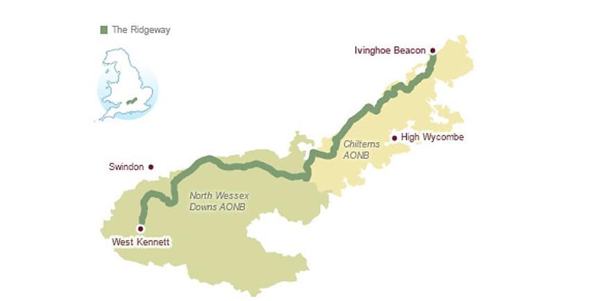 Map of the Ridgeway National Trail