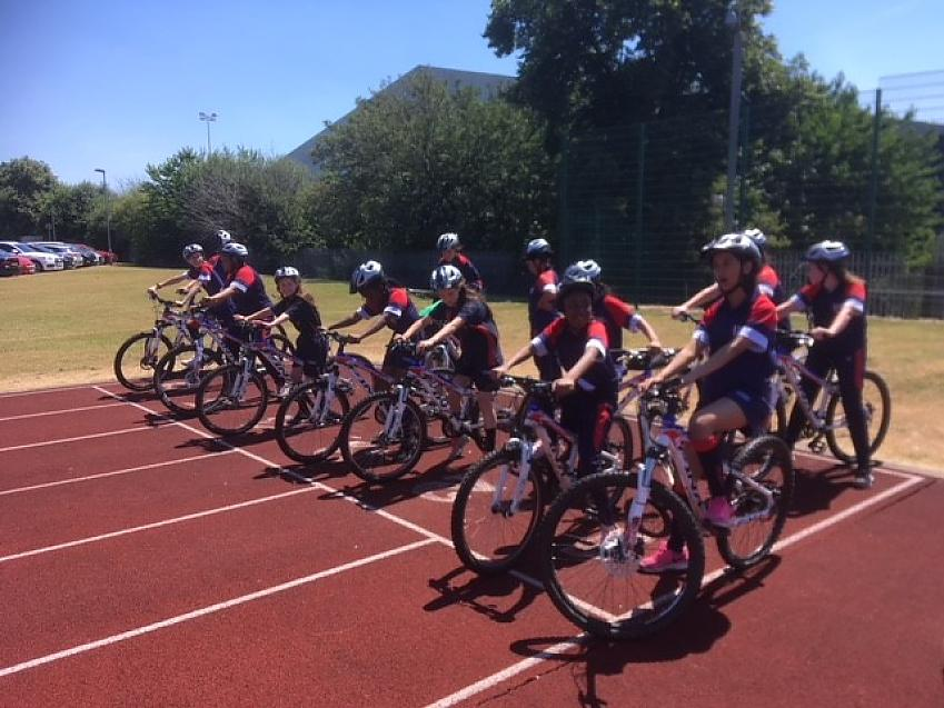 Girls learning to ride at Sandwell Academy