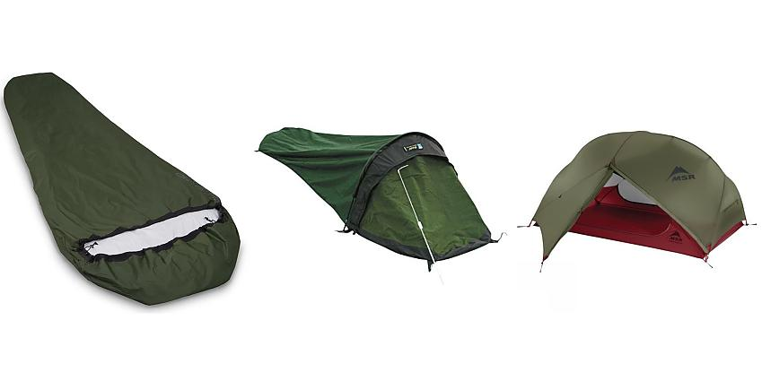 Selection of camping shelters