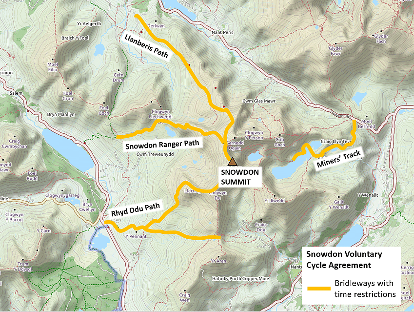Map of Snowdon bridleways
