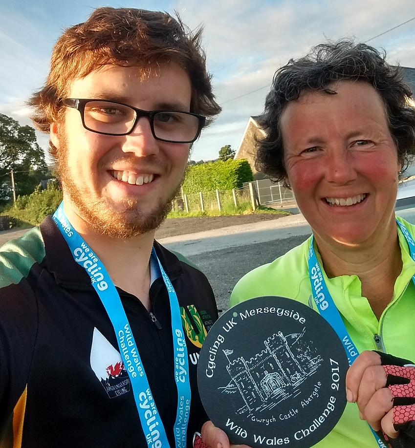 Linda and her son Matthew with their Wild Wales Challenge medals
