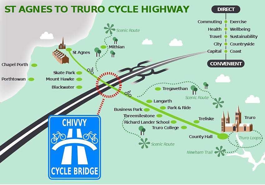 Graphic of potential Truro Cycle Highway including cycle bridge
