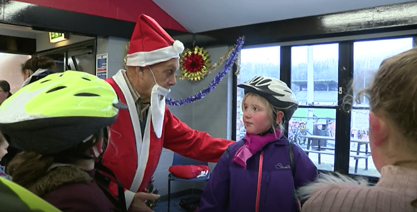 Brian Robinson dons a Father Christmas outfit