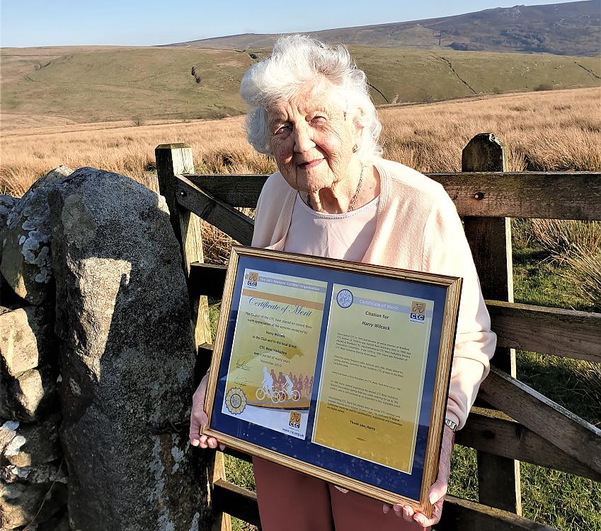 Mary, 92, proudly displays the certificates awarded to Harry by Cycling UK