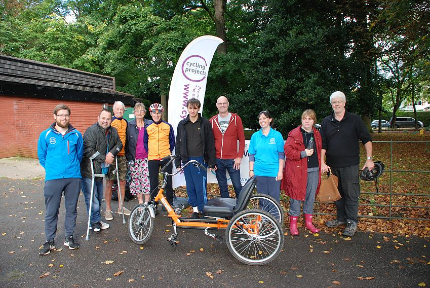 The Wirral Wheelers presenting the new trike Cycling Projects 'Wheels for All' team at Birkenhead Park