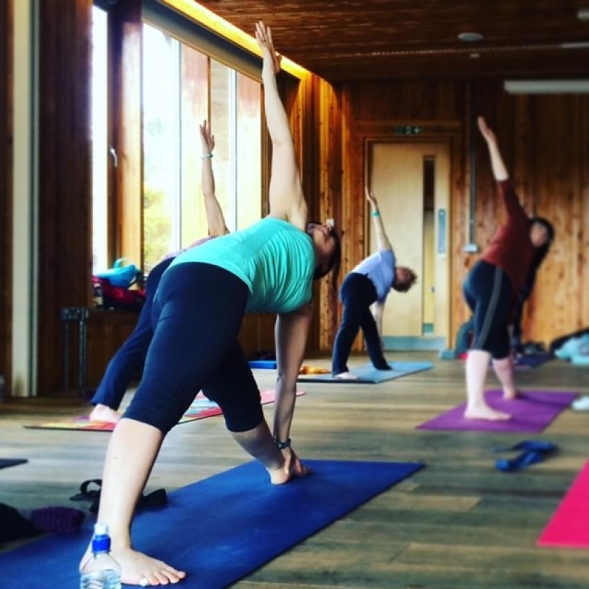 Polly Clark teaching balance and flexibility