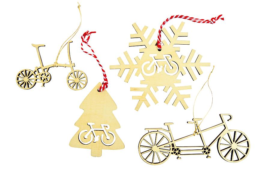 Wooden cycling Christmas decorations