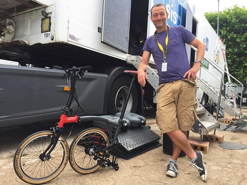 Ned Boulting with one of his Bromptons